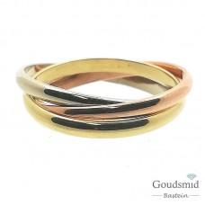 Gouden ring 14karaat tricolor 3211