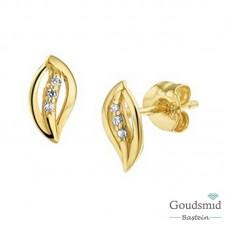 Gouden oorknoppen 14karaat geelgoud zirkonia 40.18616