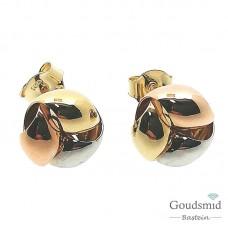 Gouden oorknoppen 14 karaat tricolor 5507