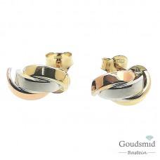 Gouden oorknoppen 14 karaat tricolor 5514