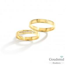 Bluerings trouwringen set BU005 14kt goud diamant