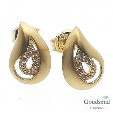 Gouden oorknoppen 14 karaat geelgoud zirkonia EMDD01-0741