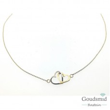 Gouden collier 14karaat bicolor hartjes