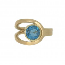 Geelgouden ring 14karaat, swiss topaas 8mm, maat 17
