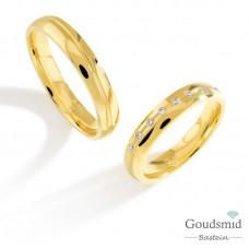 Bluerings trouwringen set PA002 14kt goud Diamant
