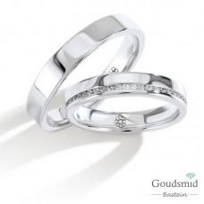 Bluerings trouwringen set PA003 14kt goud zirkonia