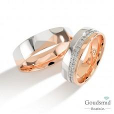 Bluerings trouwringen set PA004 14kt goud zirkonia