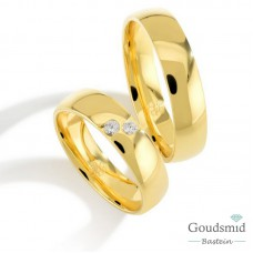 Bluerings trouwringen set PA005 14kt goud zirkonia
