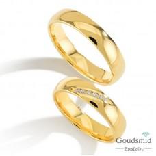Bluerings trouwringen set PA006 14kt goud zirkonia
