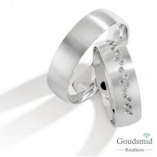 Bluerings trouwringen set PA007 zilver zirkonia