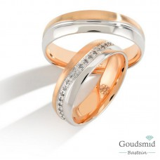 Bluerings trouwringen set PA008 14kt goud zirkonia