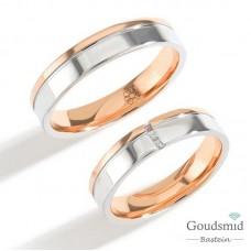 Bluerings trouwringen set PA009 14kt goud zirkonia