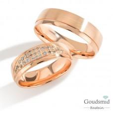 Bluerings trouwringen set PA010 14kt goud zirkonia