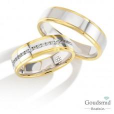 Bluerings trouwringen set PA011 14kt goud zirkonia