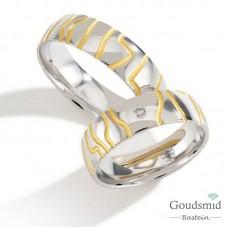 Bluerings trouwringen set PA018 14kt goud zirkonia