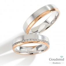 Bluerings trouwringen set PA020 14kt goud Diamant