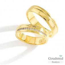 Bluerings trouwringen set PA021 14kt goud zirkonia
