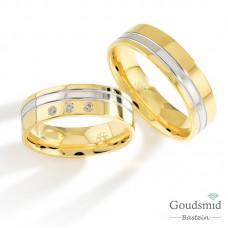 Bluerings trouwringen set PA023 14kt goud zirkonia