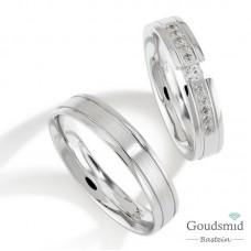 Bluerings trouwringen set PA025 zilver zirkonia