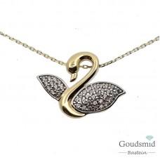 Gouden collier + hanger 14karaat zirkonia