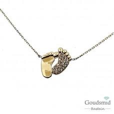 Gouden collier 14 karaat zirkonia