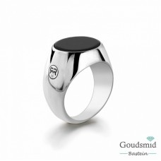 Rebel&Rose Zilveren Ring rond Onyx RR-RG001-S-60