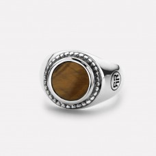 Rebel&Rose Zilveren Ring rond Tiger Eye RR-RG0012-S-58