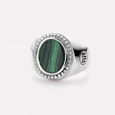 Rebel&Rose Zilveren Ring ovaal Malachite RR-RG0018-S-56