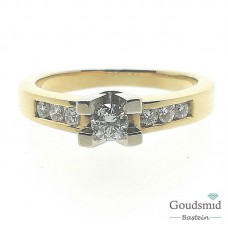 Gouden ring 14karaat bicolor briljant